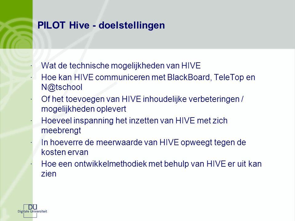 PILOT Hive - doelstellingen ·Wat de technische mogelijkheden van HIVE ·Hoe kan HIVE communiceren met BlackBoard, TeleTop en N@tschool ·Of het toevoegen van HIVE inhoudelijke verbeteringen / mogelijkheden oplevert ·Hoeveel inspanning het inzetten van HIVE met zich meebrengt ·In hoeverre de meerwaarde van HIVE opweegt tegen de kosten ervan ·Hoe een ontwikkelmethodiek met behulp van HIVE er uit kan zien