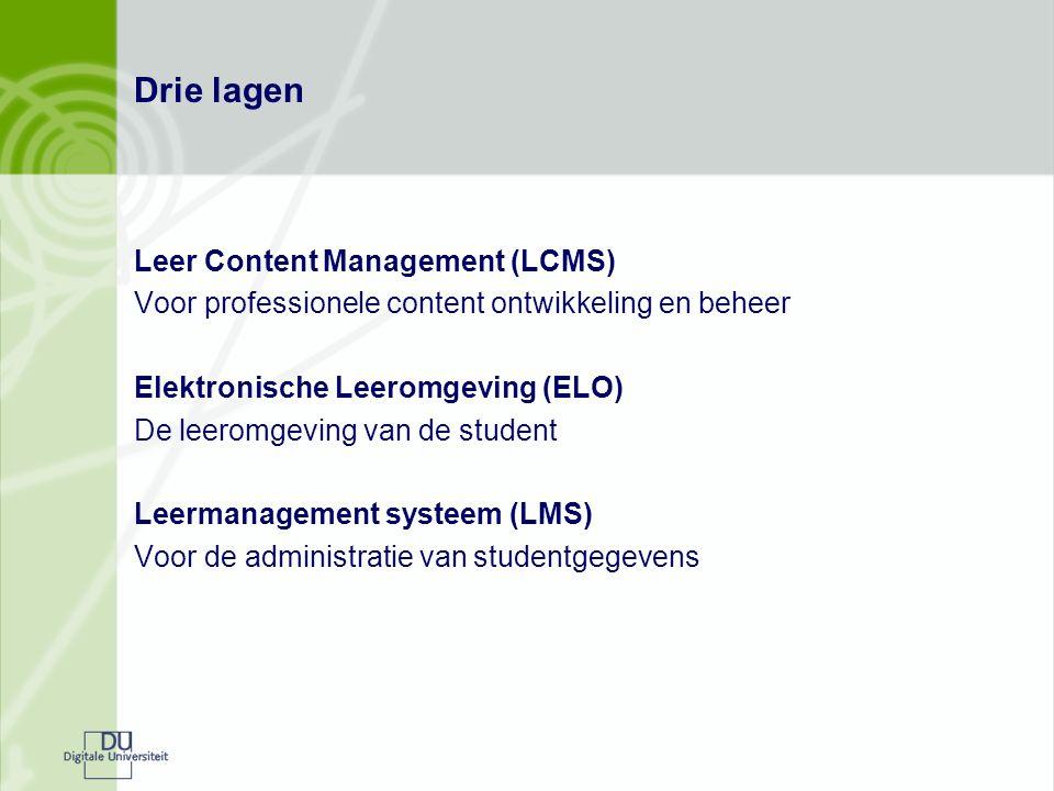 Drie lagen Leer Content Management (LCMS) Voor professionele content ontwikkeling en beheer Elektronische Leeromgeving (ELO) De leeromgeving van de student Leermanagement systeem (LMS) Voor de administratie van studentgegevens