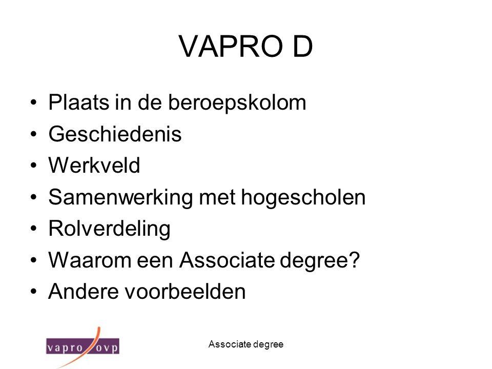 Associate degree VAPRO D Plaats in de beroepskolom Geschiedenis Werkveld Samenwerking met hogescholen Rolverdeling Waarom een Associate degree? Andere