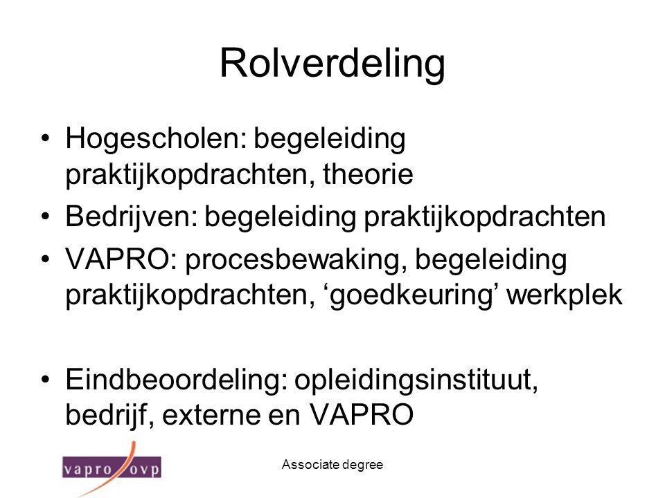 Associate degree Rolverdeling Hogescholen: begeleiding praktijkopdrachten, theorie Bedrijven: begeleiding praktijkopdrachten VAPRO: procesbewaking, be