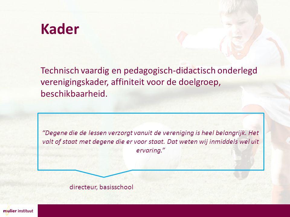 Kader Technisch vaardig en pedagogisch-didactisch onderlegd verenigingskader, affiniteit voor de doelgroep, beschikbaarheid.