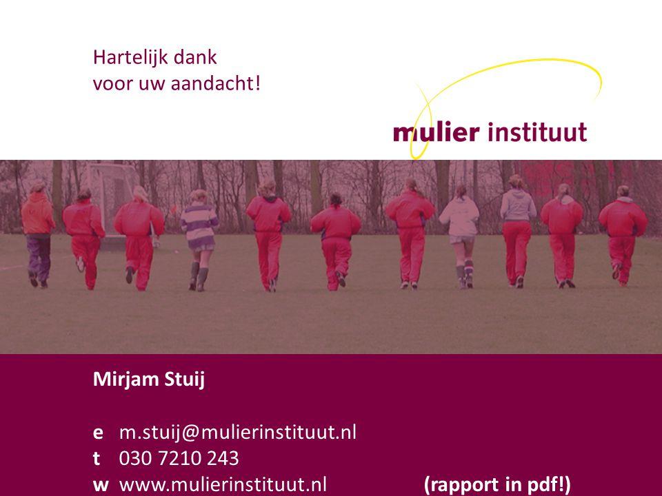 wjh mulier instituut Postelstraat 59 5211 DX s-Hertogenbosch t 073-6126401 i www.mulierinstituut.nl Hartelijk dank voor uw aandacht.