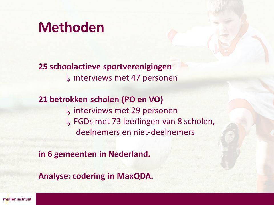 Methoden 25 schoolactieve sportverenigingen ↳ interviews met 47 personen 21 betrokken scholen (PO en VO) ↳ interviews met 29 personen ↳ FGDs met 73 leerlingen van 8 scholen, deelnemers en niet-deelnemers in 6 gemeenten in Nederland.