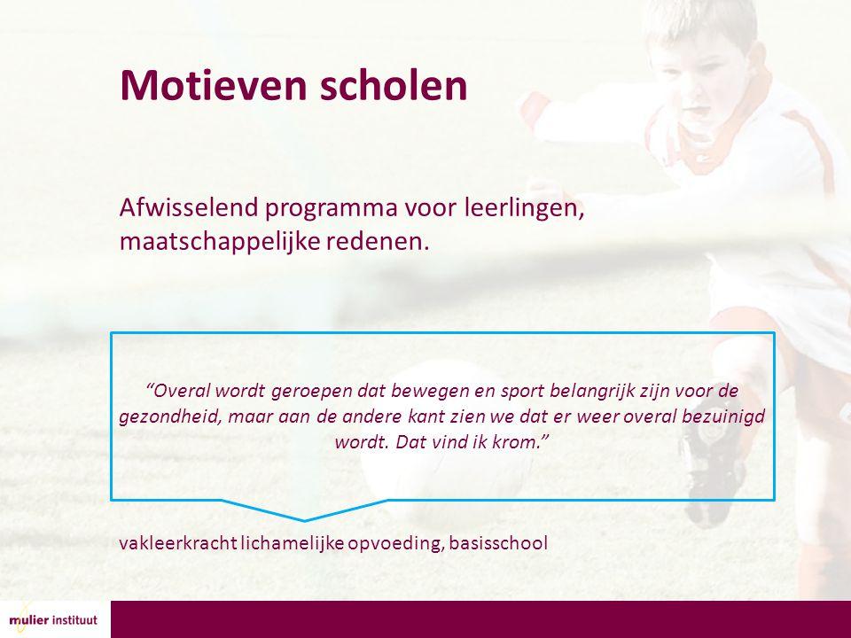 Motieven scholen Afwisselend programma voor leerlingen, maatschappelijke redenen.