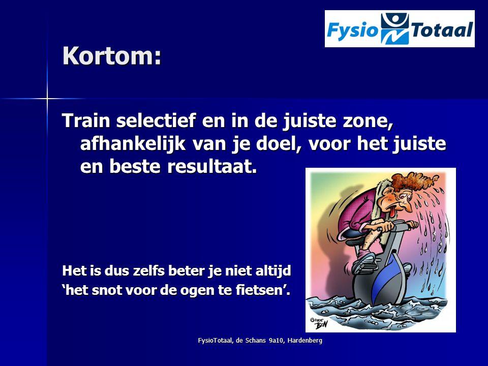 FysioTotaal, de Schans 9a10, Hardenberg Kortom: Train selectief en in de juiste zone, afhankelijk van je doel, voor het juiste en beste resultaat. Het