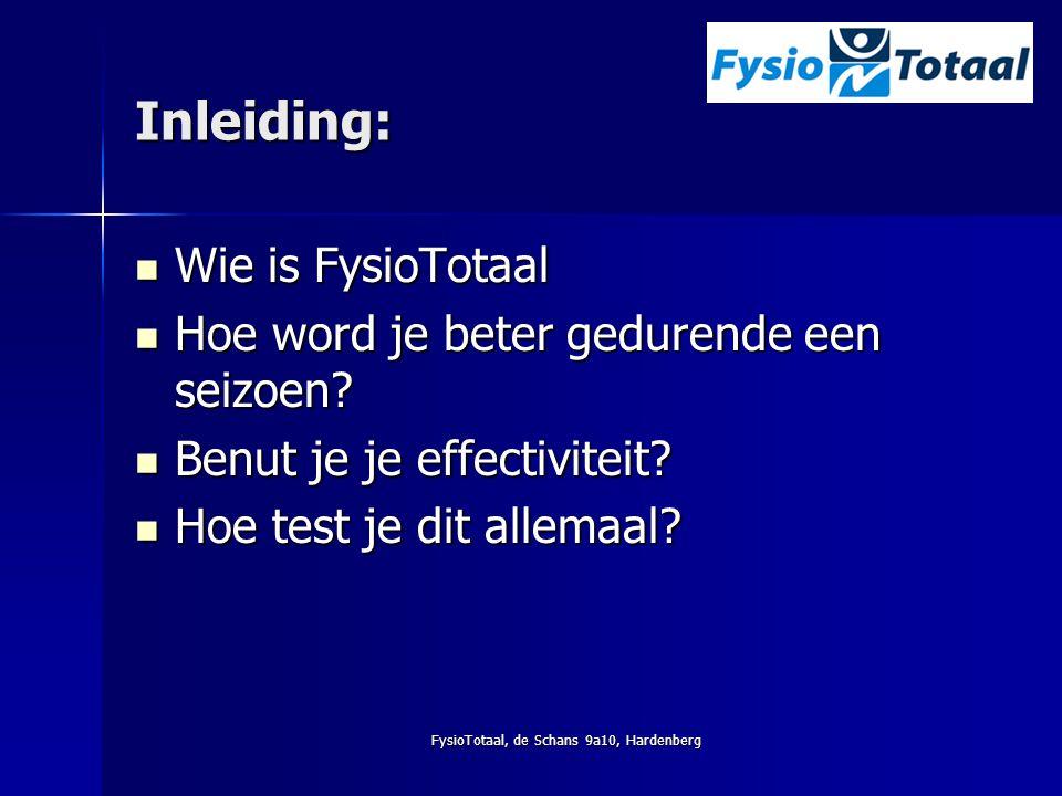 FysioTotaal, de Schans 9a10, Hardenberg Inleiding: Wie is FysioTotaal Wie is FysioTotaal Hoe word je beter gedurende een seizoen? Hoe word je beter ge