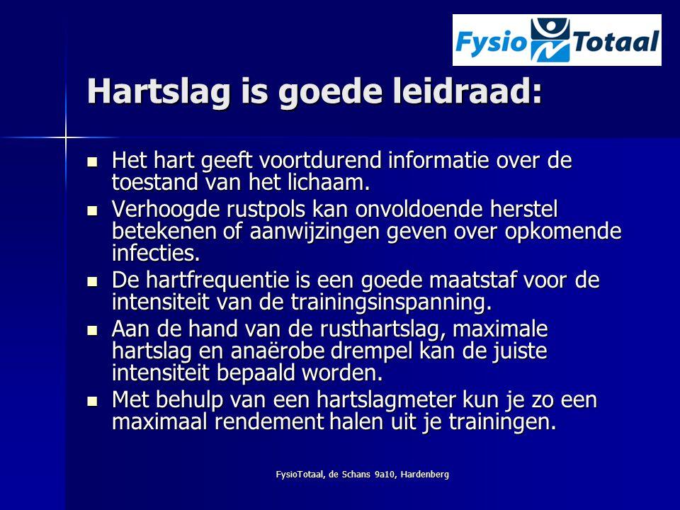 FysioTotaal, de Schans 9a10, Hardenberg Hartslag is goede leidraad: Het hart geeft voortdurend informatie over de toestand van het lichaam. Het hart g