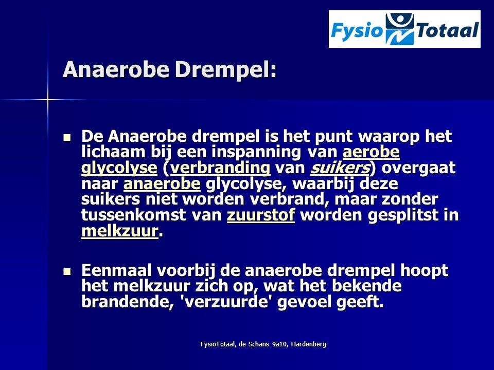 FysioTotaal, de Schans 9a10, Hardenberg Anaerobe Drempel: De Anaerobe drempel is het punt waarop het lichaam bij een inspanning van aerobe glycolyse (