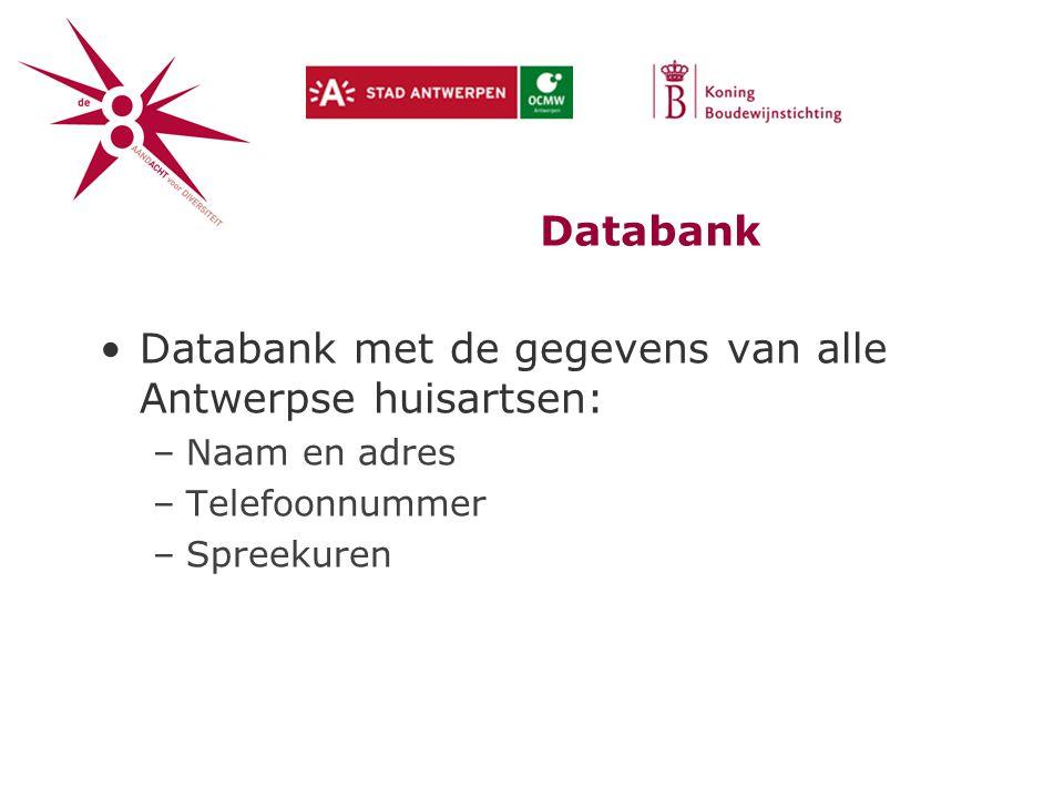 Databank Databank met de gegevens van alle Antwerpse huisartsen: –Naam en adres –Telefoonnummer –Spreekuren