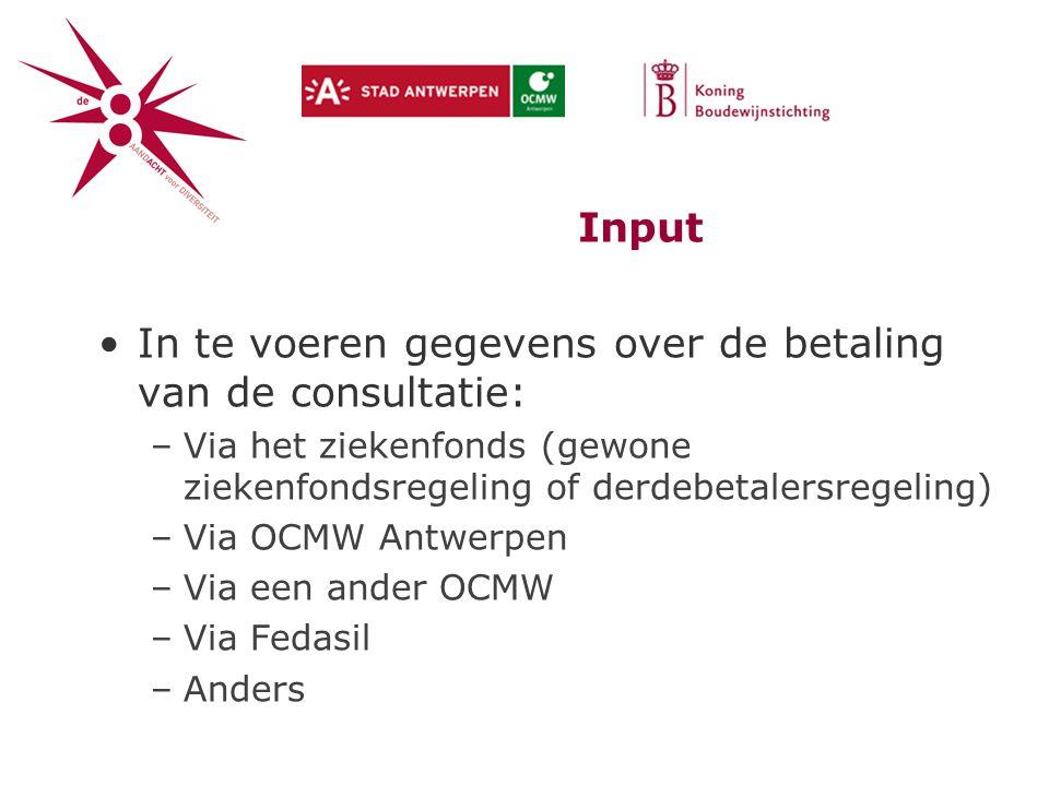 Input In te voeren gegevens over de betaling van de consultatie: –Via het ziekenfonds (gewone ziekenfondsregeling of derdebetalersregeling) –Via OCMW Antwerpen –Via een ander OCMW –Via Fedasil –Anders