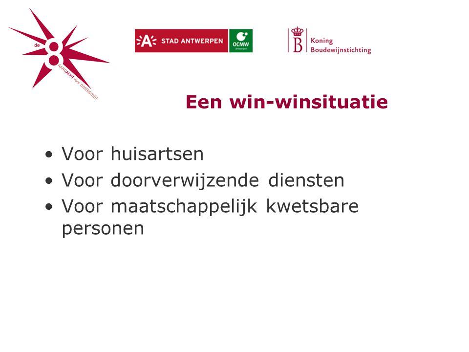 Een win-winsituatie Voor huisartsen Voor doorverwijzende diensten Voor maatschappelijk kwetsbare personen