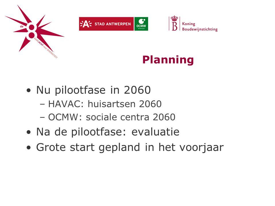 Planning Nu pilootfase in 2060 –HAVAC: huisartsen 2060 –OCMW: sociale centra 2060 Na de pilootfase: evaluatie Grote start gepland in het voorjaar