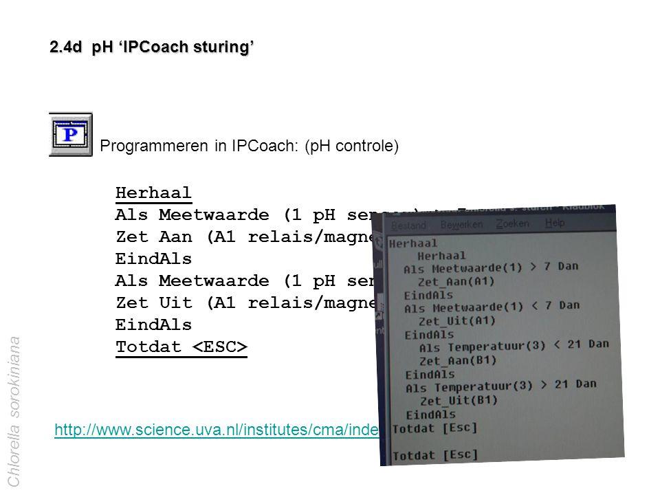 2.4d pH 'IPCoach sturing' Programmeren in IPCoach: (pH controle) Herhaal Als Meetwaarde (1 pH sensor) > 7 Dan Zet Aan (A1 relais/magneetventiel CO 2 )