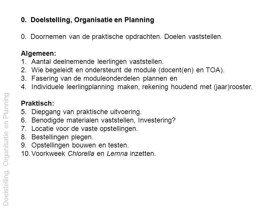 0. Doelstelling, Organisatie en Planning 0. Doornemen van de praktische opdrachten. Doelen vaststellen. Algemeen: 1.Aantal deelnemende leerlingen vast