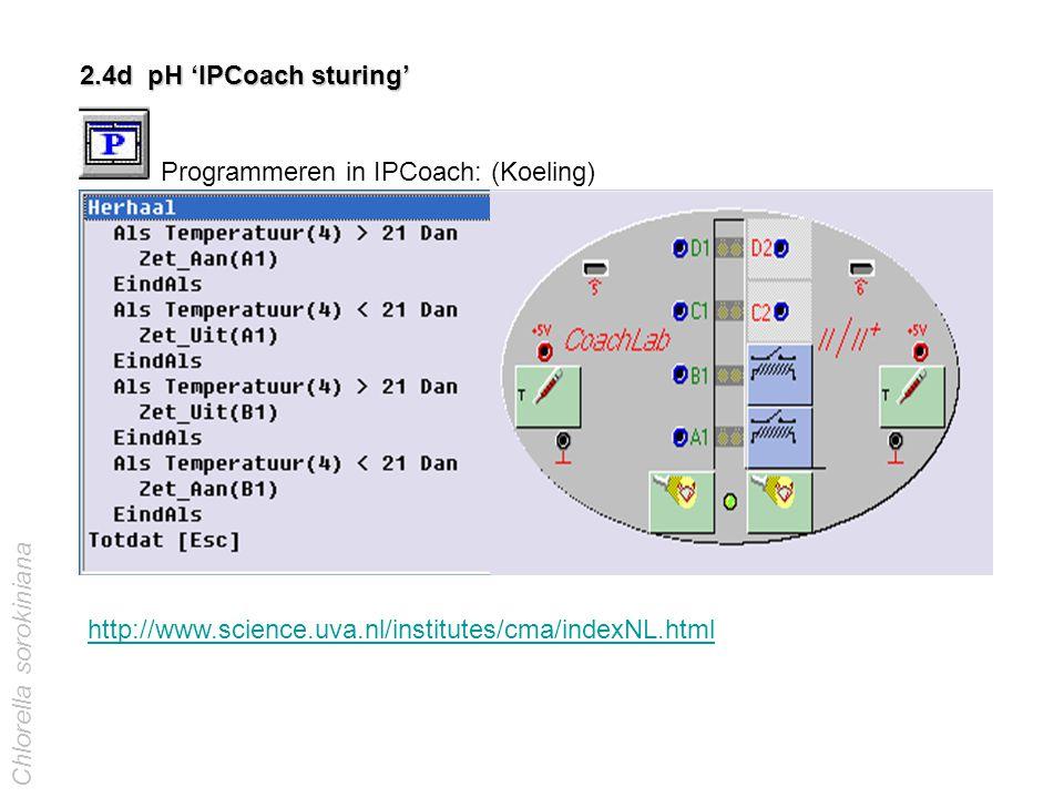 2.4d pH 'IPCoach sturing' Programmeren in IPCoach: (Koeling) http://www.science.uva.nl/institutes/cma/indexNL.html Chlorella sorokiniana temperatuur b