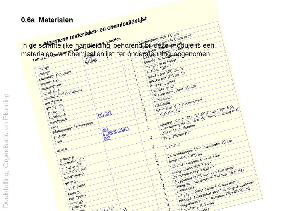 0.6a Materialen In de schriftelijke handleiding behorend bij deze module is een materialen- en chemicaliënlijst ter ondersteuning opgenomen. Doelstell