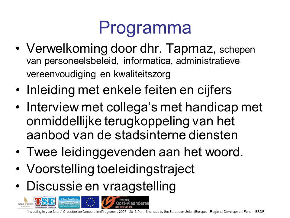 Investing in your future Cross border Cooperation Programme 2007 – 2013 Part –financed by the European Union (European Regional Development Fund – ERDF) Programma Verwelkoming door dhr.