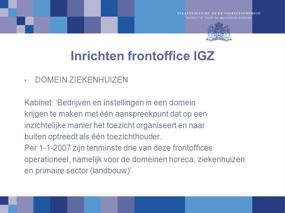 Inrichten frontoffice IGZ DOMEIN ZIEKENHUIZEN Kabinet: 'Bedrijven en instellingen in een domein krijgen te maken met één aanspreekpunt dat op een inzichtelijke manier het toezicht organiseert en naar buiten optreedt als één toezichthouder.
