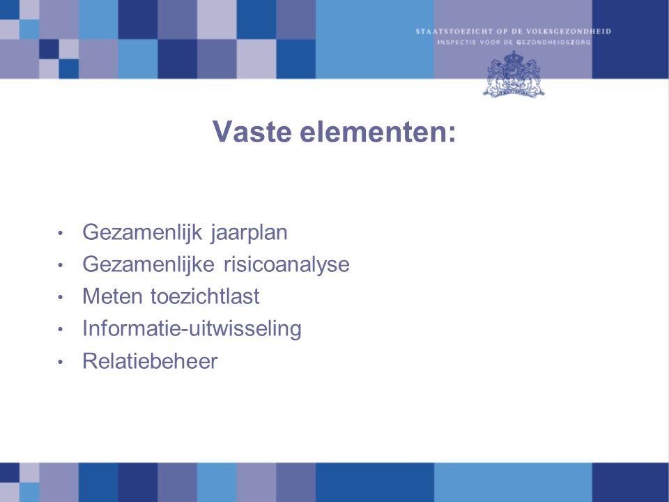 Vaste elementen: Gezamenlijk jaarplan Gezamenlijke risicoanalyse Meten toezichtlast Informatie-uitwisseling Relatiebeheer