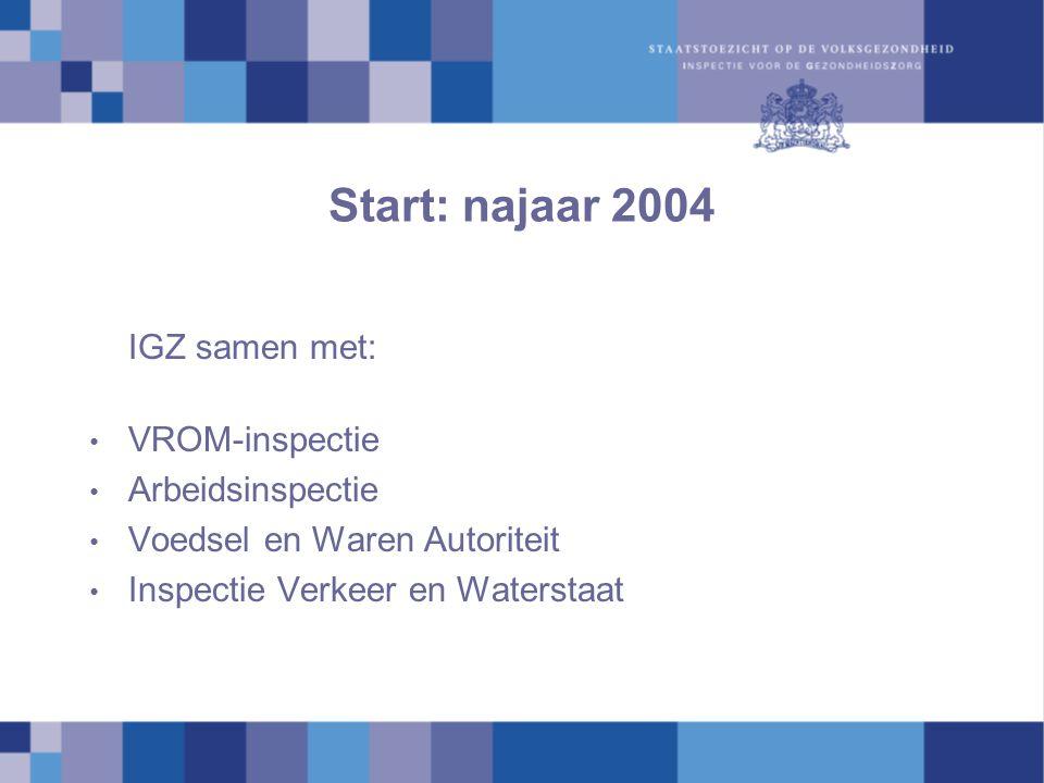 Start: najaar 2004 IGZ samen met: VROM-inspectie Arbeidsinspectie Voedsel en Waren Autoriteit Inspectie Verkeer en Waterstaat