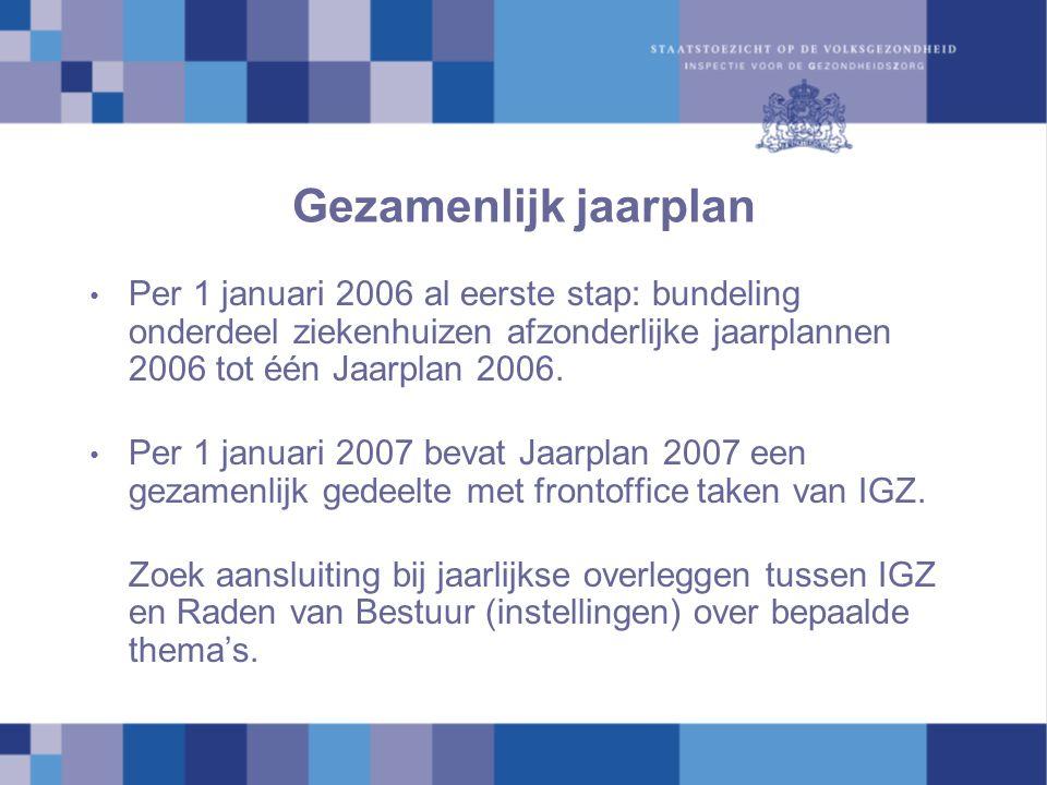 Gezamenlijk jaarplan Per 1 januari 2006 al eerste stap: bundeling onderdeel ziekenhuizen afzonderlijke jaarplannen 2006 tot één Jaarplan 2006.