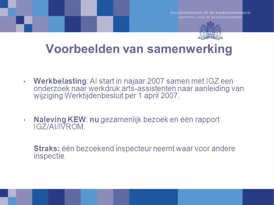 Voorbeelden van samenwerking Werkbelasting: AI start in najaar 2007 samen met IGZ een onderzoek naar werkdruk arts-assistenten naar aanleiding van wijziging Werktijdenbesluit per 1 april 2007.