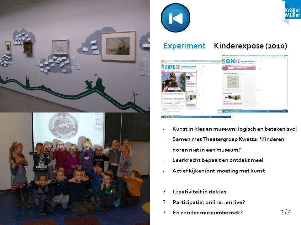 2 / 4 Experiment Kinderexpose (2010) Kunst in klas en museum: logisch en betekenisvol Samen met Theatergroep Kwatta: Kinderen horen niet in een museum! Leerkracht bepaalt en ontdekt mee.