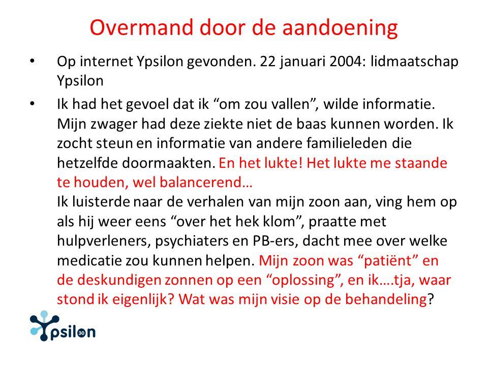 """Overmand door de aandoening Op internet Ypsilon gevonden. 22 januari 2004: lidmaatschap Ypsilon Ik had het gevoel dat ik """"om zou vallen"""", wilde inform"""