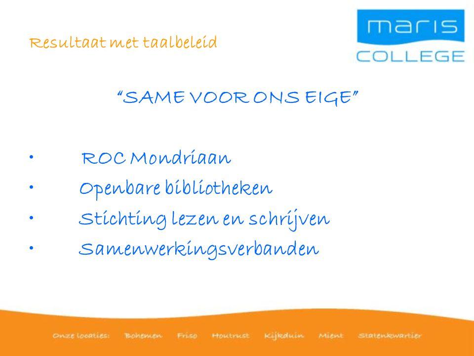 Resultaat met taalbeleid SAME VOOR ONS EIGE ROC Mondriaan Openbare bibliotheken Stichting lezen en schrijven Samenwerkingsverbanden
