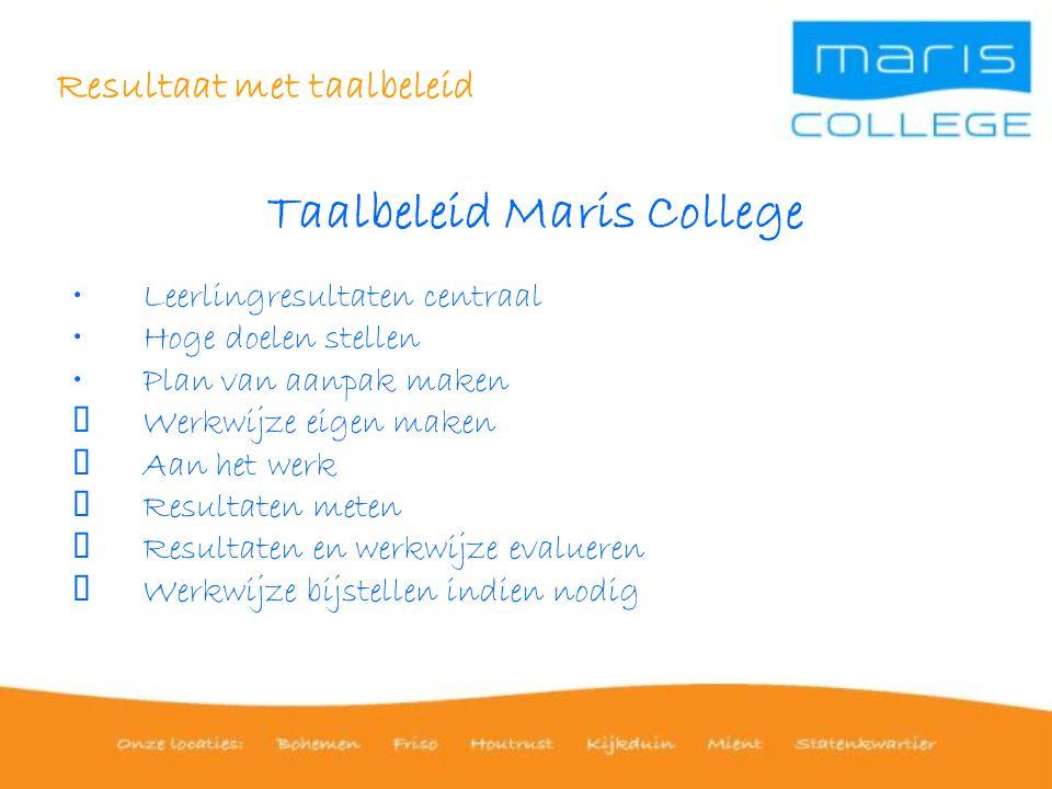 Resultaat met taalbeleid Taalbeleid Maris College Leerlingresultaten centraal Hoge doelen stellen Plan van aanpak maken  Werkwijze eigen maken  Aan het werk  Resultaten meten  Resultaten en werkwijze evalueren  Werkwijze bijstellen indien nodig