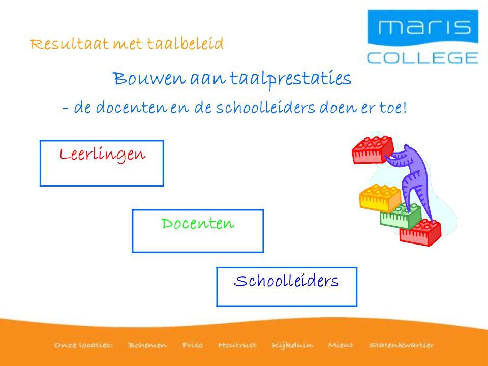Resultaat met taalbeleid Bouwen aan taalprestaties - de docenten en de schoolleiders doen er toe.