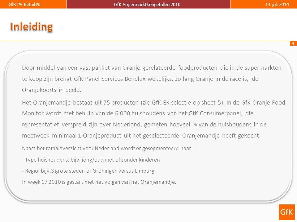 4 GfK PS Retail NLGfK Supermarktkengetallen 201014 juli 2014 Door middel van een vast pakket van Oranje gerelateerde foodproducten die in de supermarkten te koop zijn brengt GfK Panel Services Benelux wekelijks, zo lang Oranje in de race is, de Oranjekoorts in beeld.