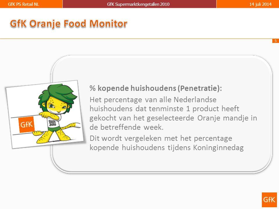 5 GfK PS Retail NLGfK Supermarktkengetallen 201014 juli 2014 % kopende huishoudens (Penetratie): Het percentage van alle Nederlandse huishoudens dat t