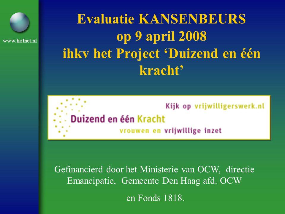 www.hofnet.nl Evaluatie KANSENBEURS op 9 april 2008 ihkv het Project 'Duizend en één kracht' Gefinancierd door het Ministerie van OCW, directie Emanci