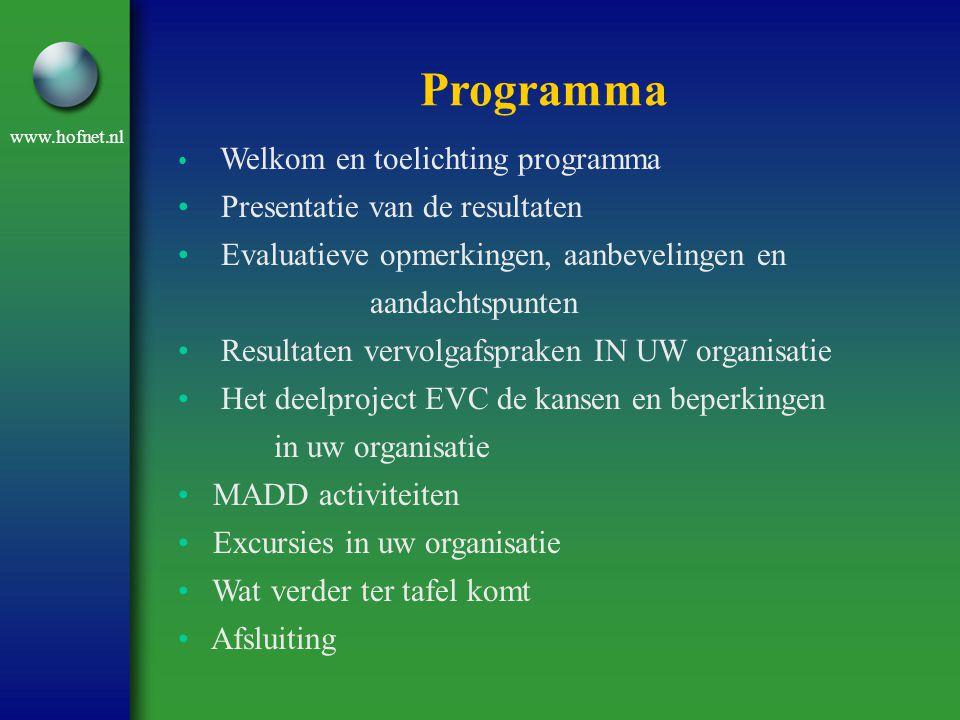 www.hofnet.nl Welkom en toelichting programma Presentatie van de resultaten Evaluatieve opmerkingen, aanbevelingen en aandachtspunten Resultaten vervo