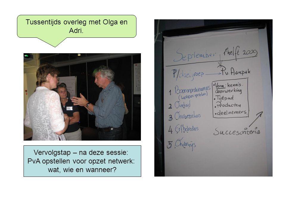 Tussentijds overleg met Olga en Adri.