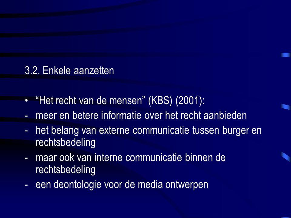 """3.2. Enkele aanzetten """"Het recht van de mensen"""" (KBS) (2001): -meer en betere informatie over het recht aanbieden -het belang van externe communicatie"""