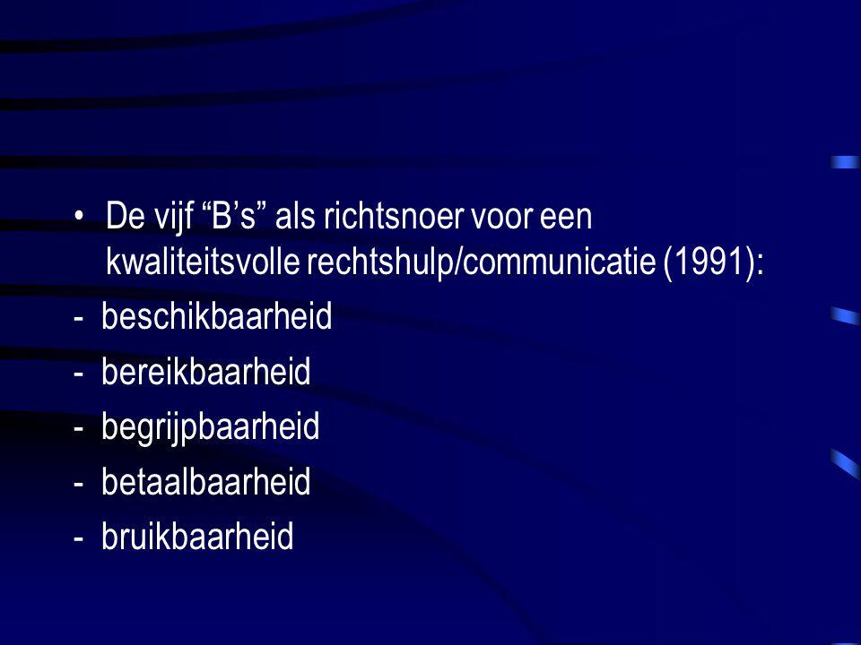 De vijf B's als richtsnoer voor een kwaliteitsvolle rechtshulp/communicatie (1991): - beschikbaarheid - bereikbaarheid - begrijpbaarheid - betaalbaarheid - bruikbaarheid