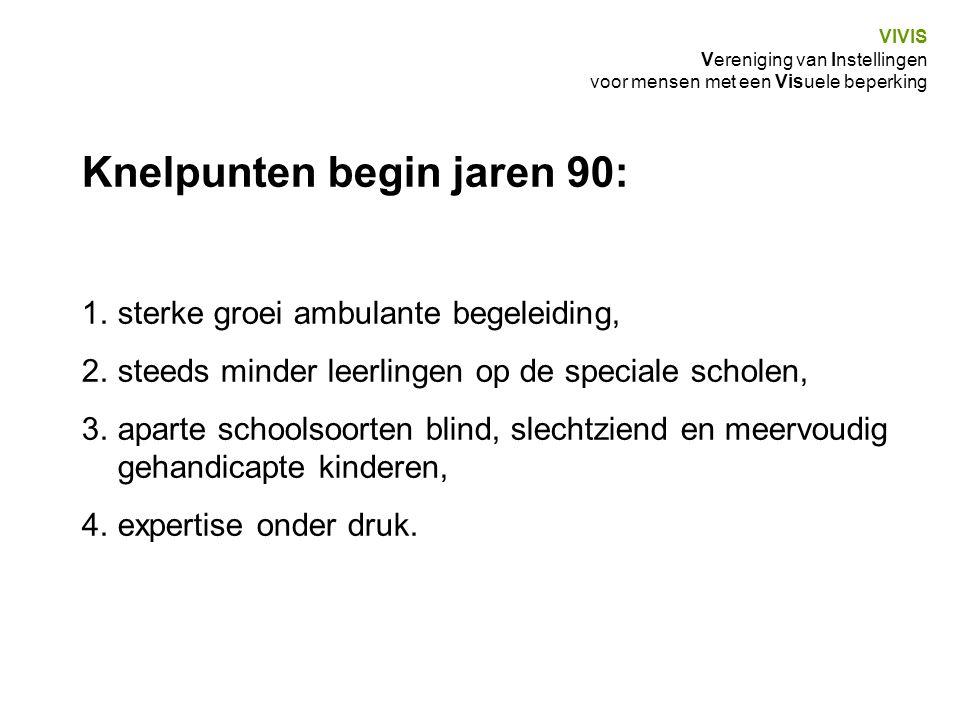VIVIS Vereniging van Instellingen voor mensen met een Visuele beperking Knelpunten begin jaren 90: 1.sterke groei ambulante begeleiding, 2.steeds mind
