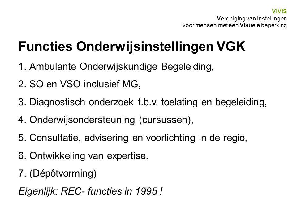 VIVIS Vereniging van Instellingen voor mensen met een Visuele beperking Functies Onderwijsinstellingen VGK 1.Ambulante Onderwijskundige Begeleiding, 2.SO en VSO inclusief MG, 3.Diagnostisch onderzoek t.b.v.