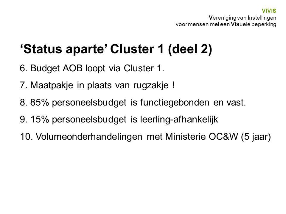 'Status aparte' Cluster 1 (deel 2) 6. Budget AOB loopt via Cluster 1. 7. Maatpakje in plaats van rugzakje ! 8. 85% personeelsbudget is functiegebonden