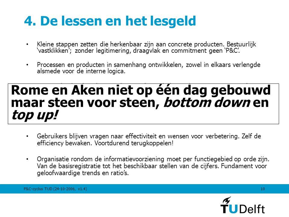 P&C-cyclus TUD (24-10-2006, v1.4)10 4. De lessen en het lesgeld Kleine stappen zetten die herkenbaar zijn aan concrete producten. Bestuurlijk 'vastkli