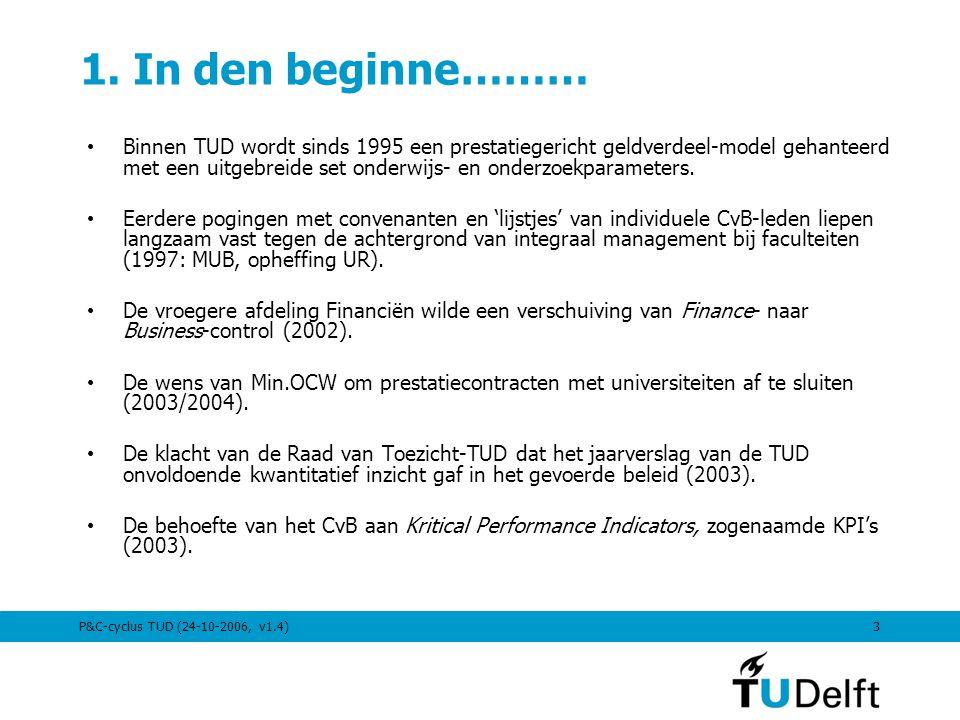 P&C-cyclus TUD (24-10-2006, v1.4)3 1. In den beginne……… Binnen TUD wordt sinds 1995 een prestatiegericht geldverdeel-model gehanteerd met een uitgebre