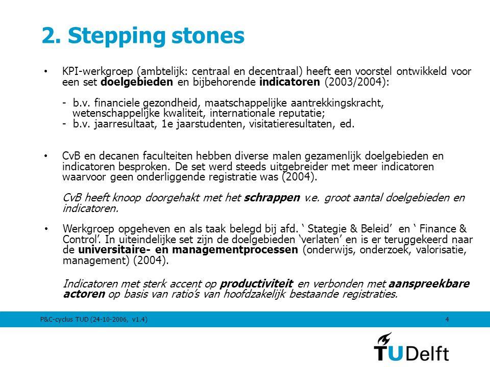 P&C-cyclus TUD (24-10-2006, v1.4)4 2. Stepping stones KPI-werkgroep (ambtelijk: centraal en decentraal) heeft een voorstel ontwikkeld voor een set doe