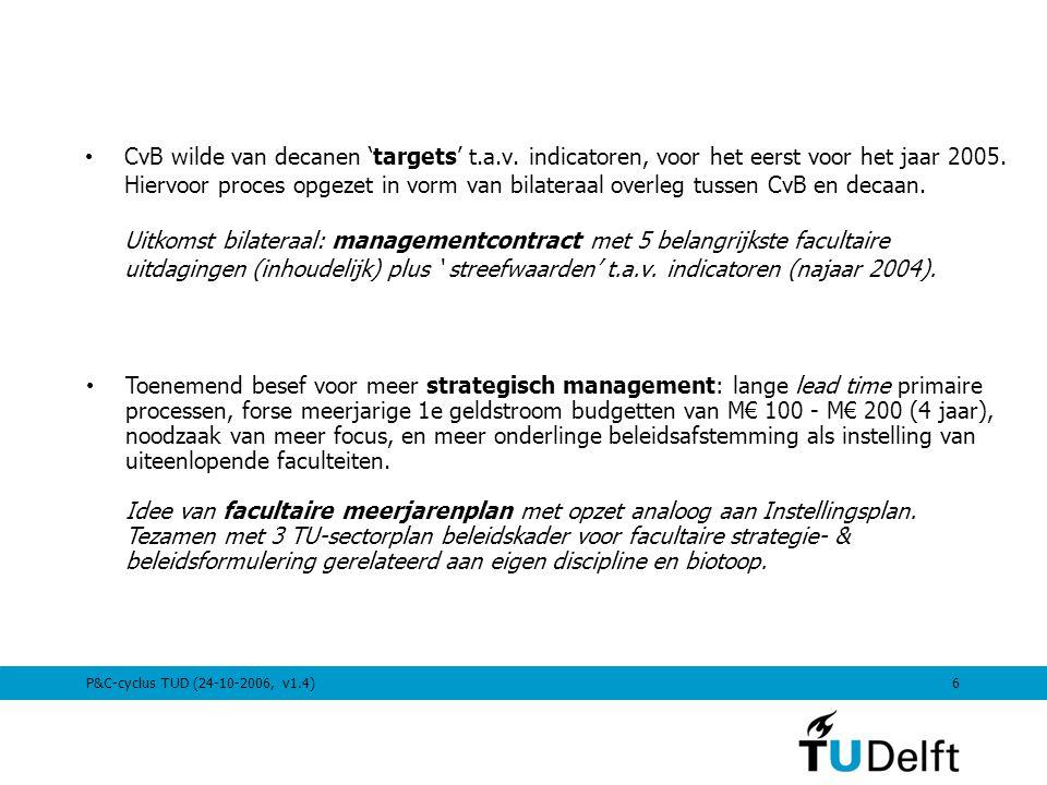 6 CvB wilde van decanen 'targets' t.a.v. indicatoren, voor het eerst voor het jaar 2005. Hiervoor proces opgezet in vorm van bilateraal overleg tussen