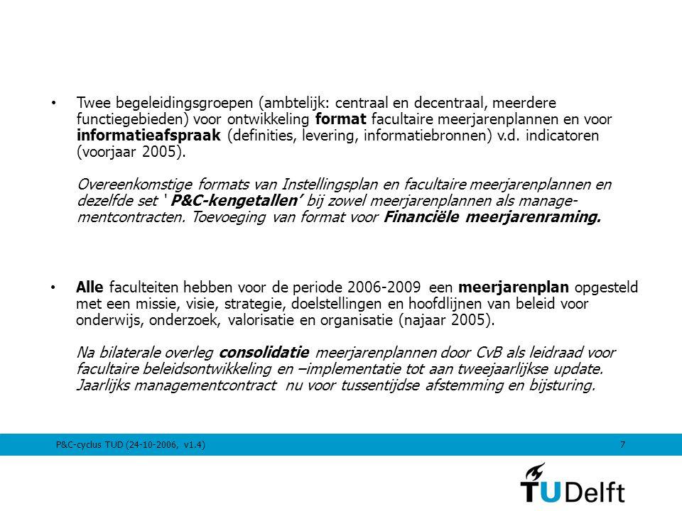 P&C-cyclus TUD (24-10-2006, v1.4)7 Twee begeleidingsgroepen (ambtelijk: centraal en decentraal, meerdere functiegebieden) voor ontwikkeling format fac