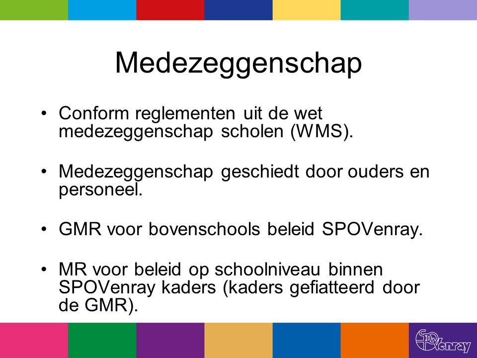 Medezeggenschap Conform reglementen uit de wet medezeggenschap scholen (WMS). Medezeggenschap geschiedt door ouders en personeel. GMR voor bovenschool