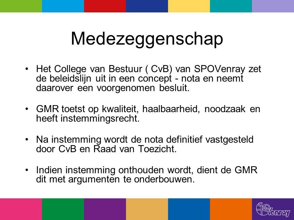 Medezeggenschap Het College van Bestuur ( CvB) van SPOVenray zet de beleidslijn uit in een concept - nota en neemt daarover een voorgenomen besluit. G