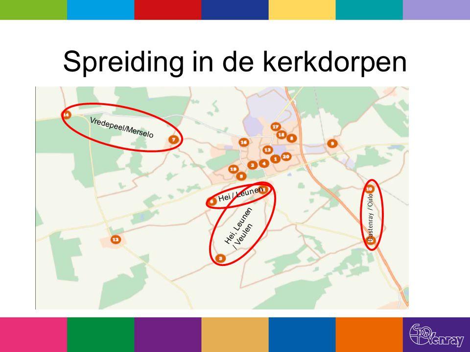 Spreiding in de kerkdorpen Vredepeel/Merselo Hei / Leunen Hei, Leunen / Veulen Castenray / Oirlo