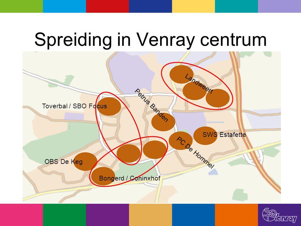 Spreiding in Venray centrum Landweert SWS Estafette PC De Hommel Petrus Banden Toverbal / SBO Focus Bongerd / Coninxhof OBS De Keg